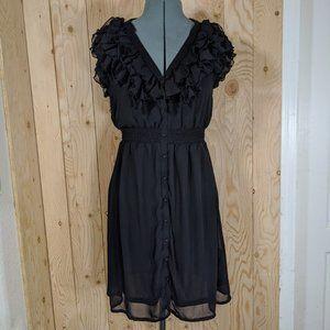 H&M Women Black Sleeveless Ruffle Mini Dress 10